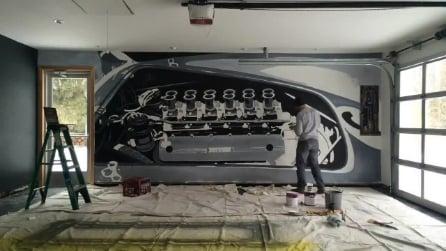 Disegna il motore di una Ferrari V12 alla parete