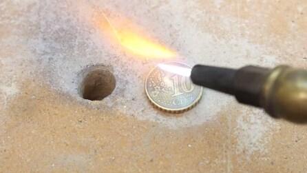 Con la fiamma ossidrica sulla moneta da 10 centesimi: cosa succede?