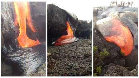 Un fiume di lava: le affascinanti immagini