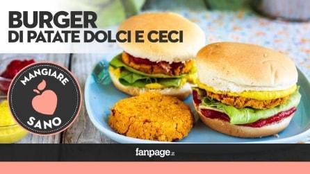 Burger di Patate dolci e ceci, per un panino sano e prelibato