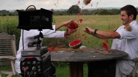 Mettono 500 molle attorno all'anguria e quello che succede è incredibile