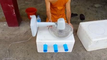Mette un ventilatore su una scatola, l'idea geniale in vista dell'estate