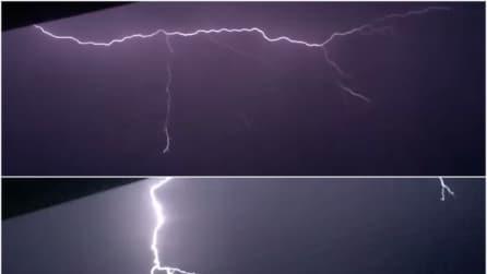 I fulmini illuminano il cielo: lo spettacolo in slow motion