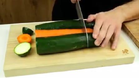 Taglia carote e zucchine e crea qualcosa di molto fantasioso
