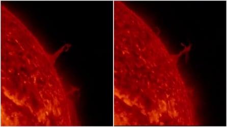 """Una """"Torre Eiffel"""" di fuoco spunta dal sole: il suggestivo effetto ripreso dalla NASA"""