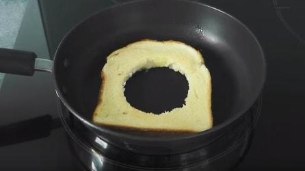 Fa un buco nella fetta di pane e la mette in padella: una ricetta golosa e veloce