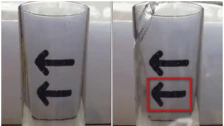 L'incredibile illusione ottica: versa l'acqua nel bicchiere ed ecco cosa succede alla freccia