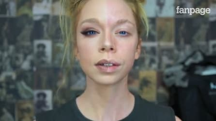 Trucca solo metà del suo viso: la trasformazione è sorprendente