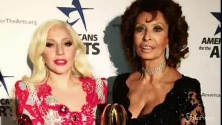 """Lady Gaga emozionata con Sophia Loren: """"L'ho chiamata ragazza tutta la notte"""""""