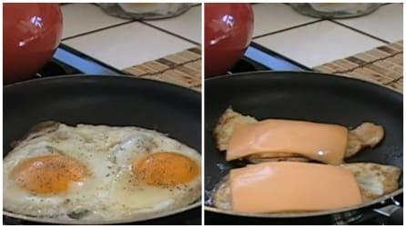 Mette del formaggio sull'uovo a occhio di bue: una ricetta veloce e gustosa