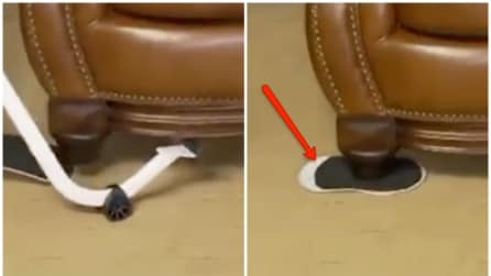 Solleva il divano e infila questo particolare oggetto: il motivo è geniale