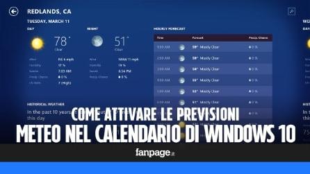 Come attivare le previsioni meteo nel calendario di Windows 10