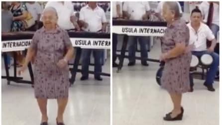 Parte la musica: quello che fa l'anziana nonnina è fantastico