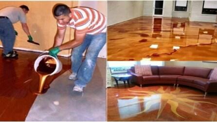 Versano un liquido metallico: il pavimento che vi lascerà senza parole