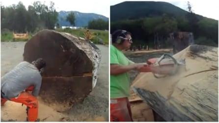Inizia a tagliare un enorme tronco: quello che realizza è straordinario