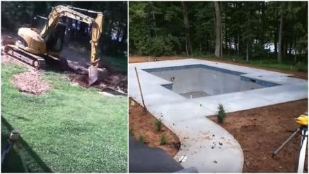 Come costruire una piscina in giardino: dagli scavi con la ruspa, al lavoro finito
