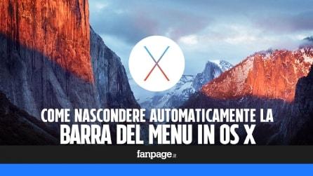 Come nascondere automaticamente la barra del Menu in OS X