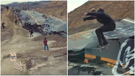 L'autostrada crolla e viene trasformata in un parco per skateboard