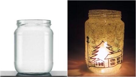 Come realizzare una lanterna di Natale con vecchi barattoli di vetro