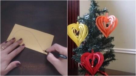 Decorazioni per l'albero di Natale: come fare una pallina a forma di cuore