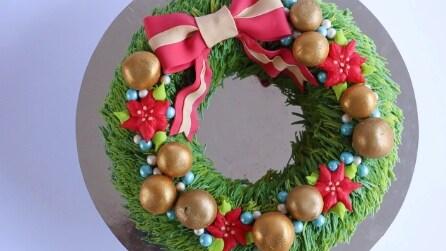 Come realizzare una torta a forma di ghirlanda natalizia