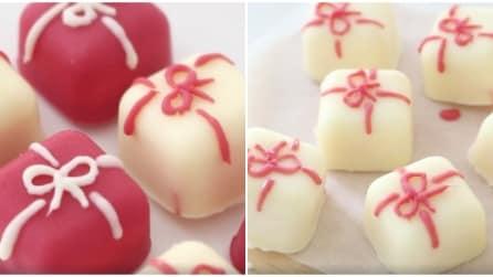 Come realizzare dei cioccolatini a forma di pacco regalo