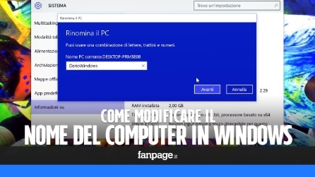 Come modificare il nome del computer in Windows