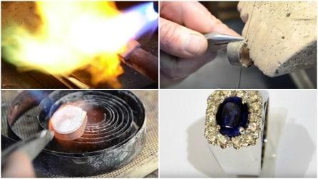 Come si crea un gioiello: anello d'oro, con diamanti e zaffiro