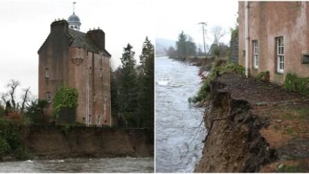 Il castello in Scozia rimane in bilico sul fiume dopo la tempesta