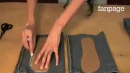 Ela corta um jeans velho e desenha umas pegadas: veja como o transforma