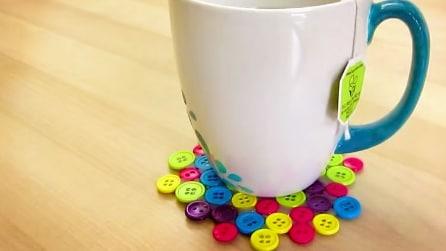 Come realizzare un sotto tazza con dei bottoni
