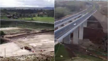 La costruzione di un ponte autostradale in timelapse