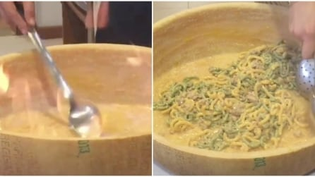 La pasta mantecata nella forma di parmigiano: da leccarsi i baffi