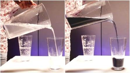 Versa un liquido trasparente in un bicchiere e improvvisamente diventa nero