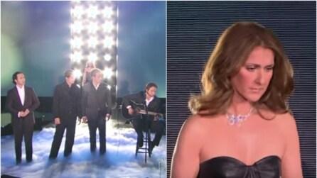 i 4 tenori intonano Halleluja quando alle loro spalle compare, a sorpresa, Celine Dion