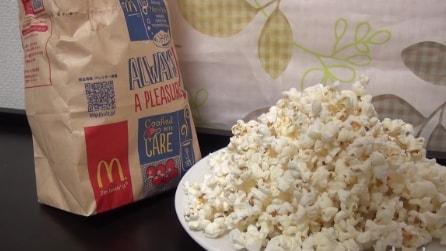 Come fare i popcorn al microonde con un sacchetto del McDonald's