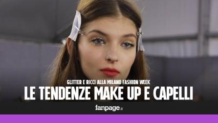 Make up glitter e capelli ricci: le tendenze beauty dalle sfilate di Milano