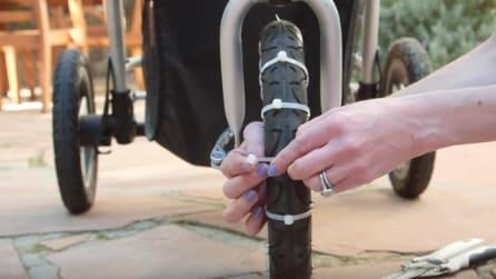 Lega le fascette alle ruote del passeggino: il trucco utile per tutte le mamme
