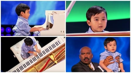 Un piccolo prodigio al pianoforte: il conduttore lo porta in trionfo