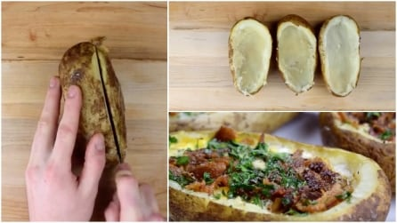 Taglia e svuota una patata, quello che ci mette dentro è delizioso