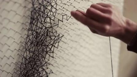 Chiodi e filo per realizzare un capolavoro: ecco la string art di Zenyk Palagniuk