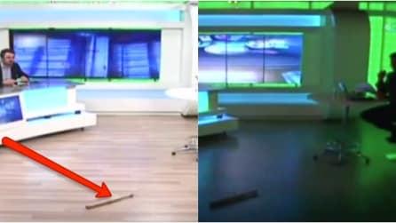 Momenti di terrore: lanciano un oggetto in studio e subito dopo si spengono le luci