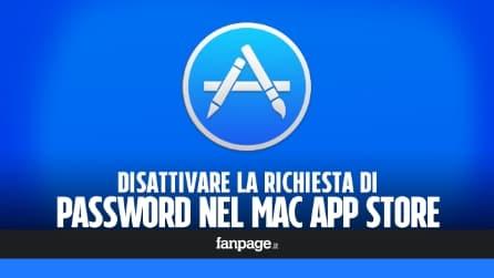 Disattivare la password dell'App Store per le app gratis Mac