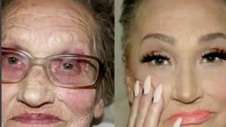 Ha 80 anni ma in pochi minuti ringiovanisce grazie al make-up