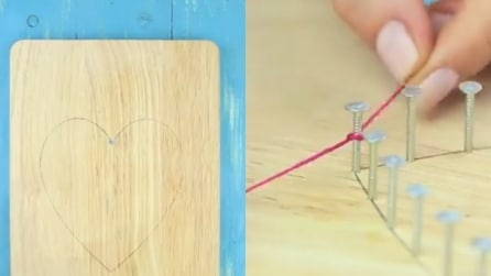Intreccia del cotone rosso intorno ai chiodi: l'idea perfetta per decorare casa