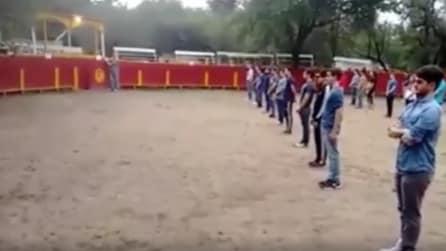 I ragazzi sono al centro dell'arena, quando entra il toro ecco cosa accade