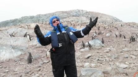 """Canta """"'O sole mio"""" tra i pinguini che reagiscono in modo sorprendente"""
