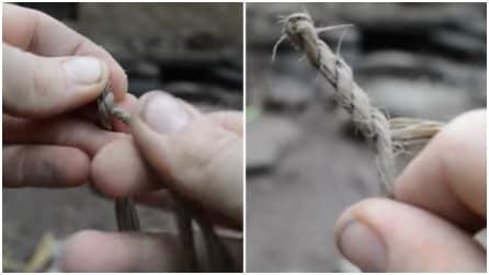 Fa una corda con dei fili e li intreccia: risultato eccezionale