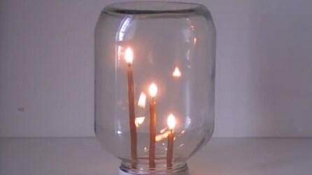 Tre candele accese e chiuse in un barattolo: sapete quale si spegnerà per prima?