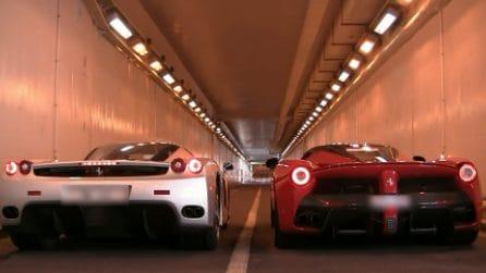 LaFerrari vs Ferrari Enzo sotto un tunnel: la sfida sonora è fantastica